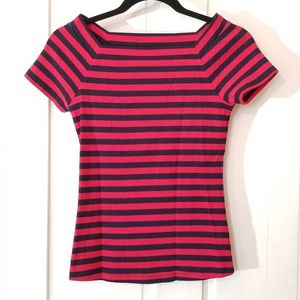 Anthropologie Red & Navy Striped Short Sleeve Top